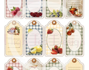 HARVEST TIME - Set of 12 Vintage style TAGS for all your homemade preserves -