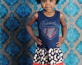 Girls Baseball Dress Blue Rhinestone Baseball Dress Girls Dresses Baby Dress Baseball Dress Blue Baseball Dress