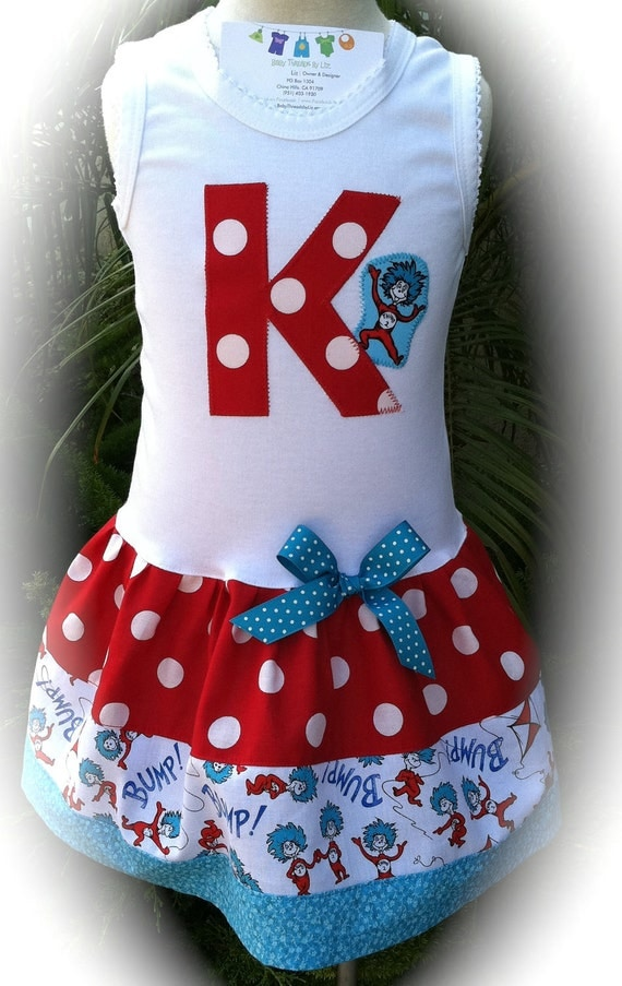Dr Seuss Thing One Letter Party Dress Available 0-3 Months Through 6-8