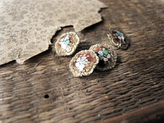 RESERVED antique Edwardian buttons - enamel - pretty set of 4 - champleve