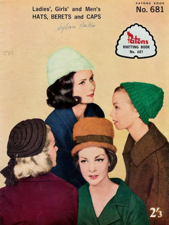 1960s Hats, Berets & Caps Vintage Knitting Patterns - Patons Book No. 681
