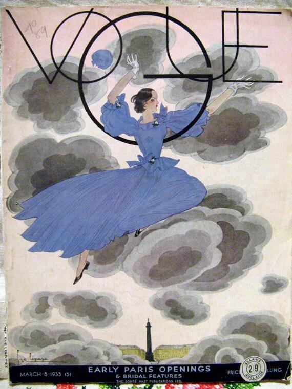 1933 Vogue Magazine Original March British Edition Georges Lepape Cover - RARE