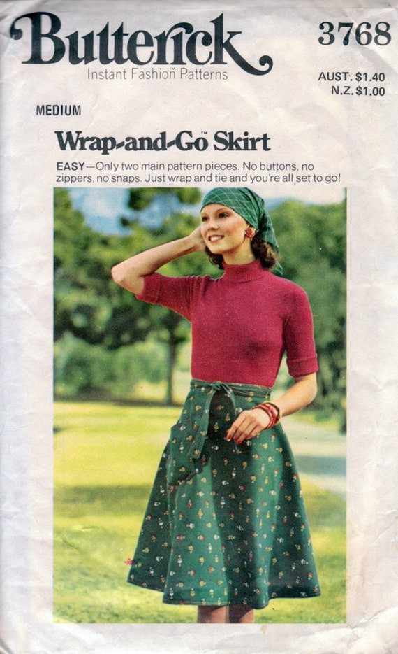 1970s Easy Wrap & Go Skirt Vintage Sewing Pattern - Butterick 3768 Waist 26.5 - 28