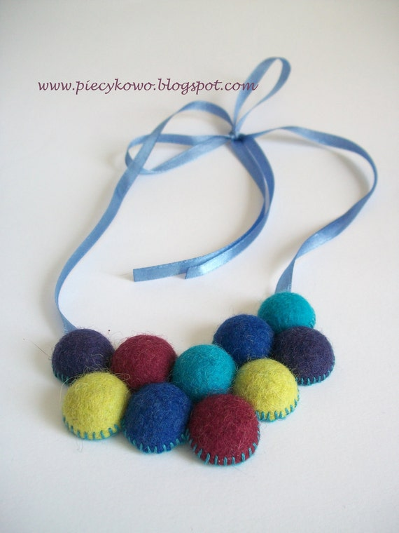 Scoops of Ice cream - Turquoise Purple Maroon Blue and Green Felt Beads Necklace