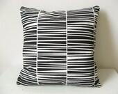 "Striped Throw Pillow Organic Cotton Black Zebraria Cushion 16 x 16"" laKattun"