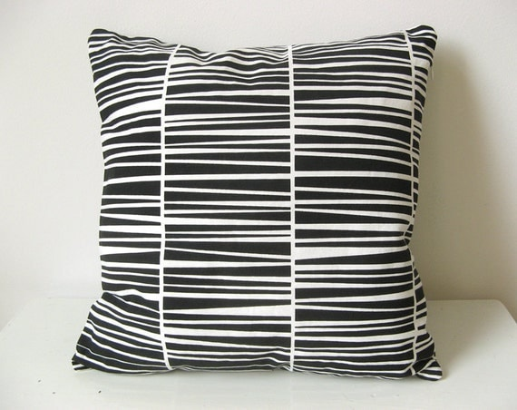 "Striped Throw Pillow Organic Cotton Black Zebraria Cushion 16 x 16"" laKattun"