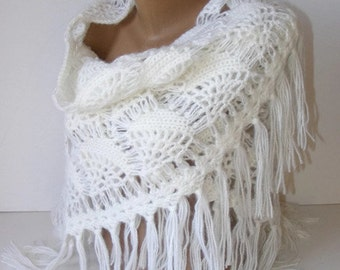 white wedding wrap shawl. Winter wedding crochet shawl . Stole wedding gifts Bridal accessories gift ideas for her senoAccessory