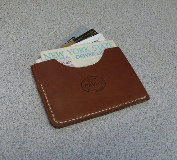 2 Pocket Leather Card Case / Simplified wallet from russet brown leather - al
