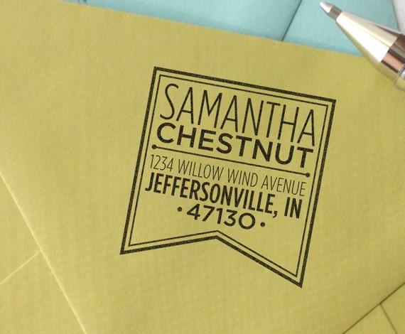 personalized custom wood handle address stamp - Banner design return address stamper