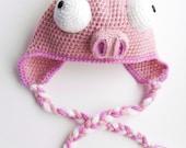 Pink Piggy - Crochet Earflap Hat