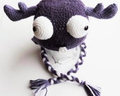 Purple Moose  - Crochet Earflap Hat