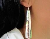 Curved Drops -  Sterling Silver Long Beautiful Earrings