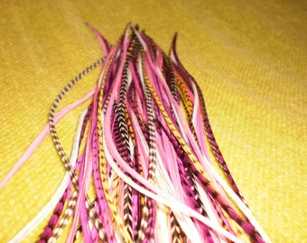 Feather Hair Extension- LONG 5 feather 5 dollars. pink yellow
