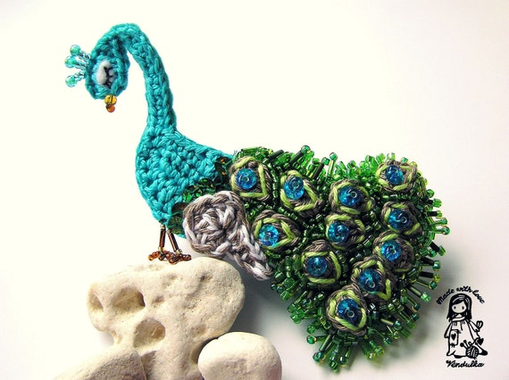 Crochet pattern - peacock  brooch DIY