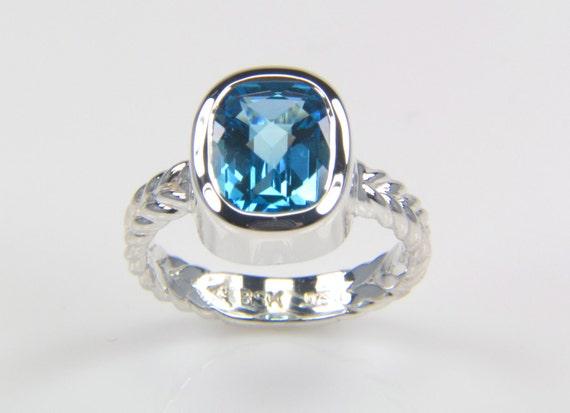 Blue Topaz Ring - Swiss Blue Topaz Ring - Silver Topaz Ring - December Birthstone Ring