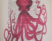Gentleman octopus- Mixed Media Digital print wall art wall hanging wall decor drawing illustration poster