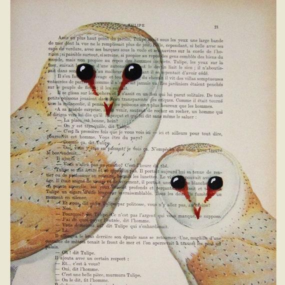 2 owls- Original Illustration-Art Print-Art Poster- Hand Painting Mixed Media- Kids Wall Art Dictionary Dorm Decors Forest Nursery