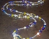 Clear AB, Purple, Lime Green Murano Glass and Swarovski Crystal Necklace