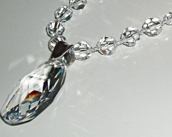 SALE - Clear Swarovski Crystal Drop Pendant and Necklace