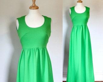 70s Dress / 70s Maxi Dress / Vintage Boho Dress / Polyester Knit Maxi Dress