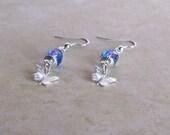 Butterfly Earrings - Blue, Purple and Pink Czech Glass with Silver Butterflies Earrings