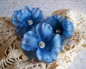 Blue Flower Hair Pins with Rhinestone and Vintage Button Centers - Woodland Wedding - Farm Wedding - Bohemian