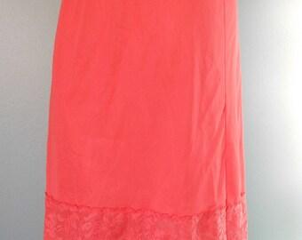 Vintage Slip 60s Vixen Pin Up Salmon Half Slip Skirt Lingerie small Pink Orange Lace Vanity Fair 50s