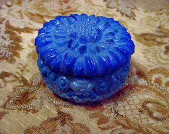 Blue glass sunflower lidded container trinket box jewelry box small