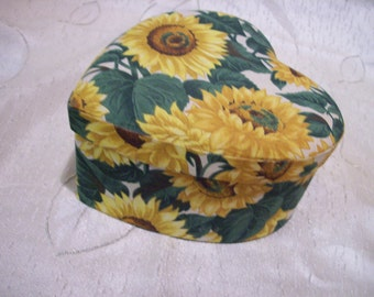 Fabric heart box of Sunflowers handmade storage box hat box