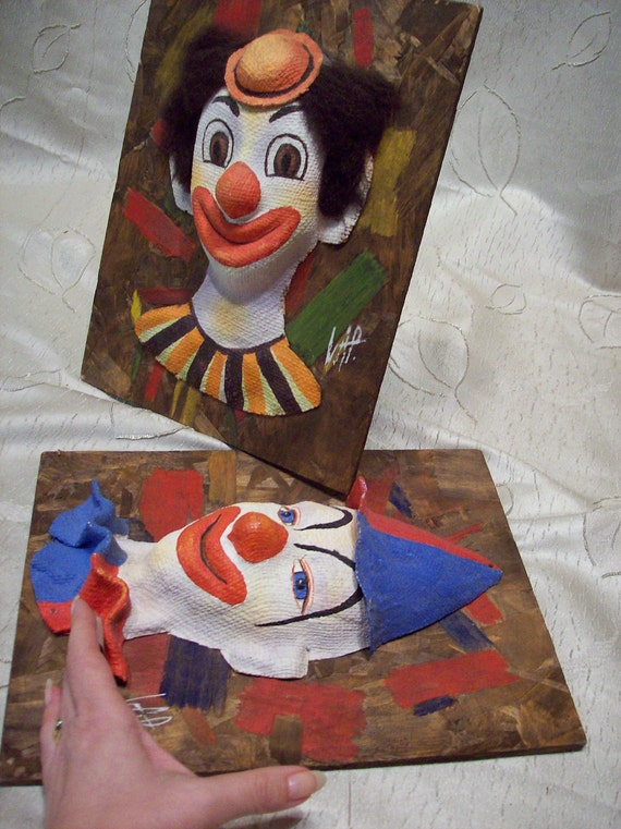 Clown Collage pair  pictures 3-D handmade original art by Vincente Paratore