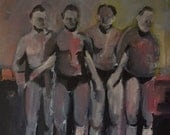 Original Painting of Four Swimmers - Pink Artwork with Reds Purples and Golds - Swim Art - Acrylic Painting of Men - Size 12x12 - Gay
