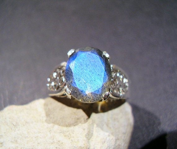 RESERVED for Nicole & Sam - Under The Sea - FACETED AAA Labradorite - Solitaire Ring