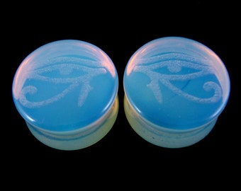 "Eye of Horus Opalite Plugs -  2g (6.5mm) through 1 1/4"" (32mm) - Opalized Glass Gauges - 0g (8mm) 00g (10mm) 9/16"" 5/8"" 3/4"" 7/8"" 1"""