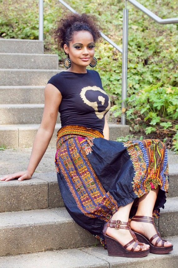 Black DASHIKI Pump Skirt - made to order