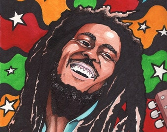 Bob Marley Three Little Birds Print of Original Painting Reggae Home Decor