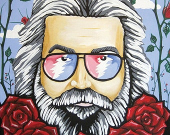 Jerry Garcia Grateful Dead Portrait - One Of A Kind - Original Painting - Deadhead Psychedelic Art Decor Garcia Memorial Hippie Art