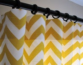 Pair of Decorative Designer Custom Curtains Drapes  50 x 120 Corn Yellow and White Chevron Zig Zag with blackout lining