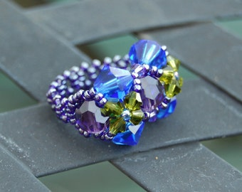 Swarovski Crystal Ring - blue violet Iris flowers, spring fairy jewelry, elf ring, forest, dark mori, elemental water, fairytale