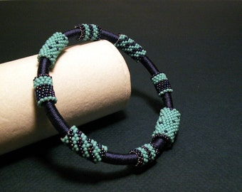 Bracelet, Blue Peyote Stitch Bangle
