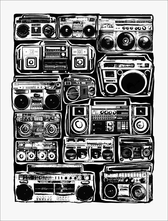 Boomboxes Art Print - Ghetto Blaster - Blackline - Hip Hop Hipster Pop Art - Hand Printed