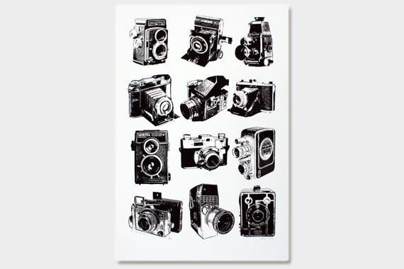 Vintage Cameras Art Print (Blackline) - Hand Printed - 12X18