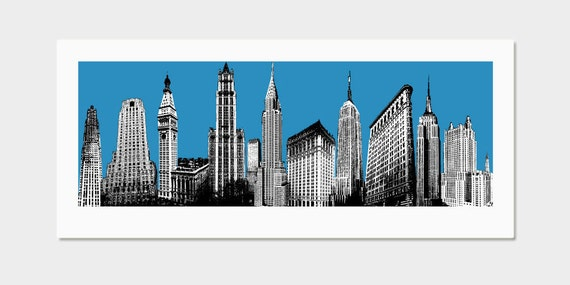 NYC Art Print - New York Skyline Pop Art Deco (Blue) - Hand Printed