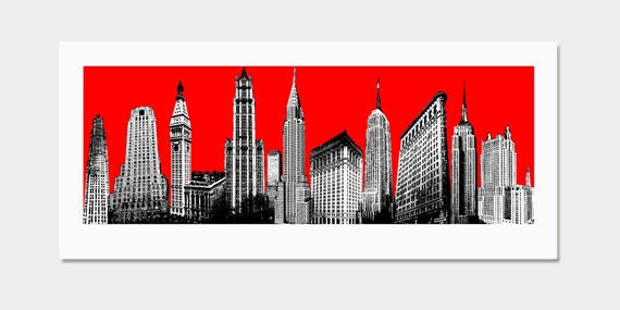 New York City Art Print - Pop Art Deco Red NYC Skyline - Screenprint