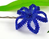 Beaded Plumeria flower - metallic sparkly cobalt blue - Kai