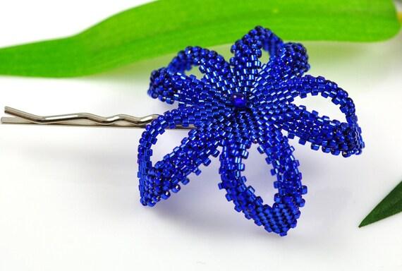 Beaded Plumeria flower - metallic sparkly cobalt blue - Kai