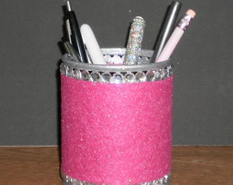 PINK & BLING Pen/Pencil Cup Holder - Fuschia pink w/ clear rhinestones