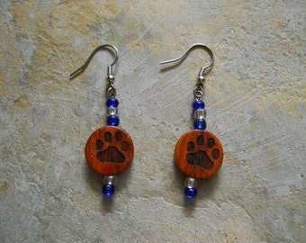 PAW PRINT  - Laser Engraved 15mm  wood disk earrings with color beads