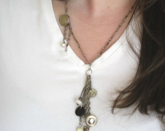 Assemblage Silver Lily Pendant Necklace
