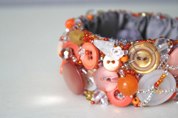 Cuff Bracelet, Vintage Buttons, Orange and Tangerine Hand Embroidered, Size Med