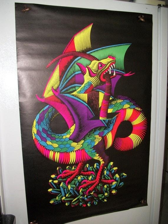 "SALE  Original Vintage M.C.Eschers ""Dragon"" Blacklight   Poster"